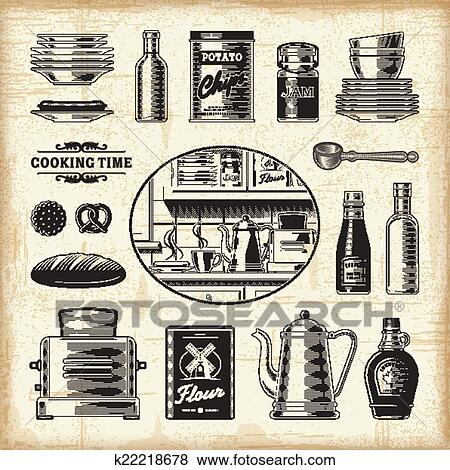 A Set Of Fully Editable Vintage Kitchen Elements In Woodcut Style. EPS10  Vector Illustration With Clipping Mask.