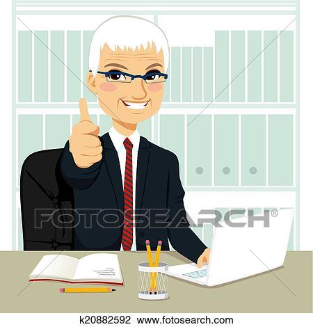 シニア ビジネスマン で 働くこと オフィス クリップアート切り張り