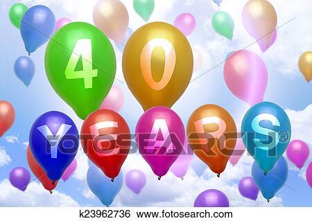 Archivio Illustrazioni 40 Anni Buon Compleanno Balloon Palloni