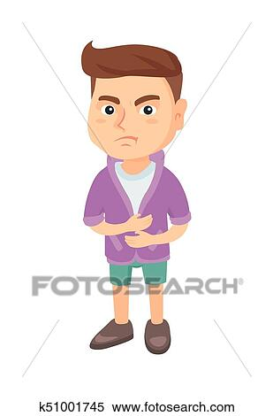 caucasian sad boy having stomach ache clipart k51001745 fotosearch fotosearch