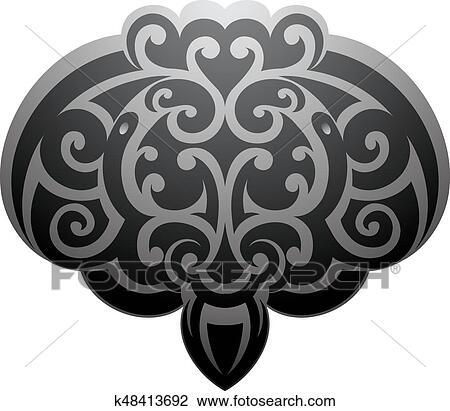 9f410b7e9 Maori style Stingray tattoo Clipart   k48413692   Fotosearch