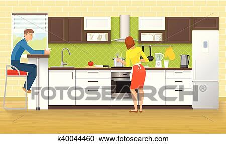 People At Kitchen Design Clipart K40044460 Fotosearch