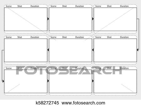 Professional of film storyboard mockup  Template for easy to present the  process of story  A4 desi Clipart