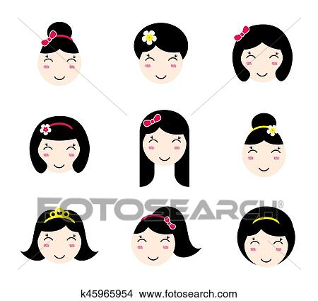 Clipart Of Set Of Cute Anime Girl Characters With Different