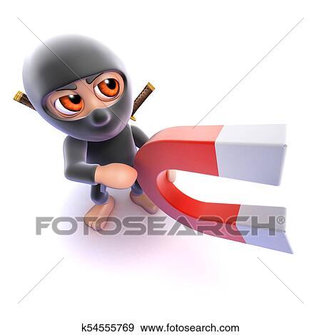 D divertente cartone animato ninja assassino presa a terra