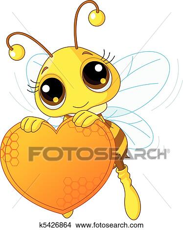 Clipart Of Cute Bee Holding A Sweet Heart K5426864