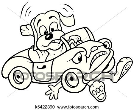 Clipart Of Dog And Car Crash K5422390