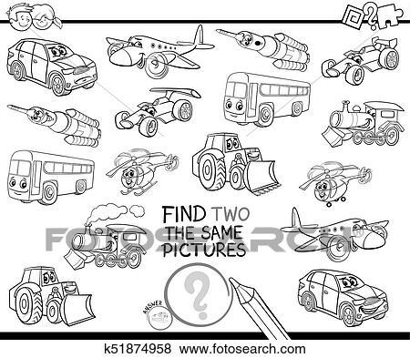 Clip Art - hallazgo, dos, el, mismo, vehículos, libro colorear ...