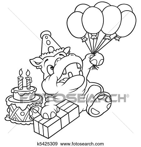 Hippopotame Et Ballons Clipart K5425309