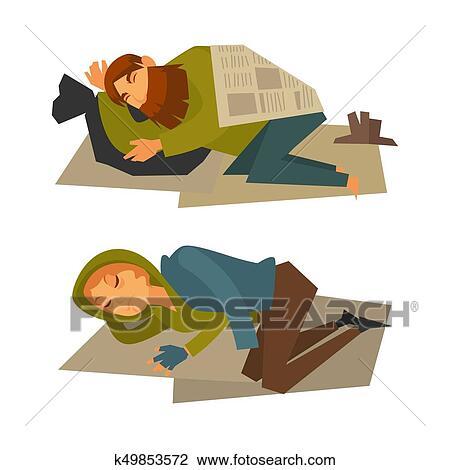clipart of homeless man and woman sleep on cardboard sheet k49853572 rh fotosearch com homeless guy clipart homeless shelter clipart