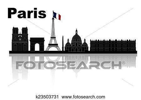 Clipart Of Paris Skyline K23503731