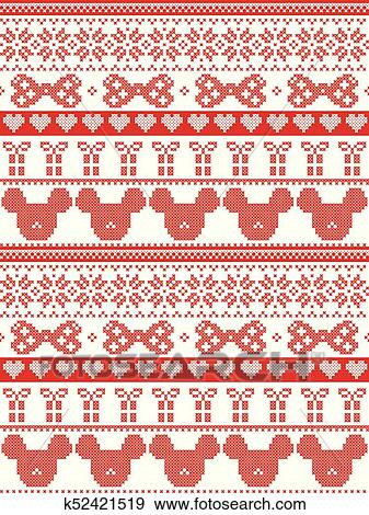 Merry Christmas In Norwegian.Seamless Merry Christmas Scandinavian Fabric Style Inspired By Norwegian Christmas Festive Winter Pattern In Cross Stitch With Mouse Bow Gift