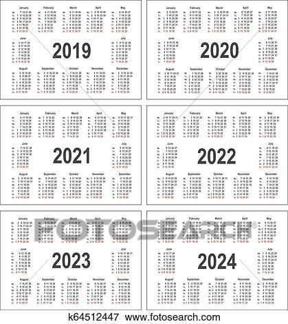 Calendario Numero Settimana 2019.Semplice Calendario Per 2019 2020 2021 2022 2023 E 2024 Anni Clip Art