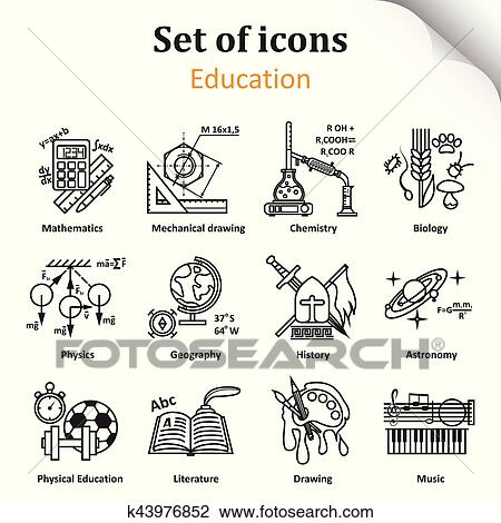 clipart of set of icons on a theme of school subjects k43976852