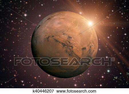 Sistema solar, -, mars., él, es, el, cuarto, planeta, de, el ...