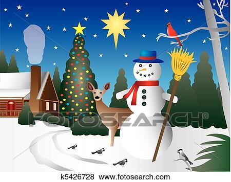 clip art of snowman in christmas scene k5426728 search clipart rh fotosearch com christmas tree scene clipart christmas snow scene clipart