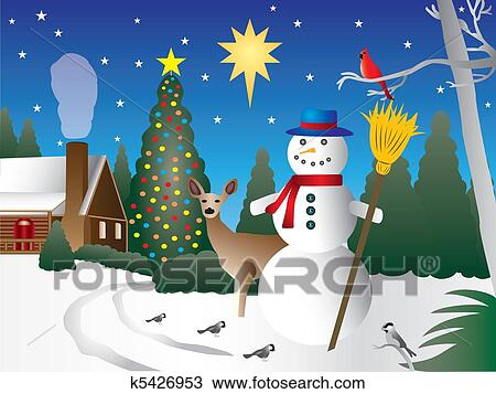 drawing snowman in christmas scene fotosearch search clipart illustration fine art