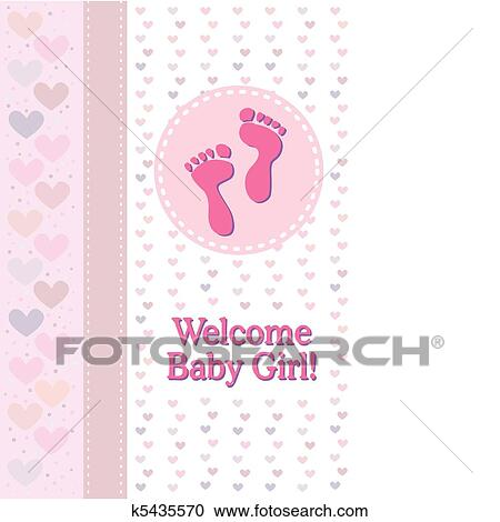 clipart of baby girl footprints birth announce k5435570 search