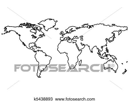 Clipart of black world map outlines isolated on white k5438893 clipart black world map outlines isolated on white fotosearch search clip art gumiabroncs Image collections
