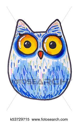 Criancas Desenho De Um Coruja Com Olhos Grandes Feito De