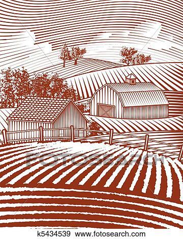 clip art of farm scene landscape k5434539 search clipart
