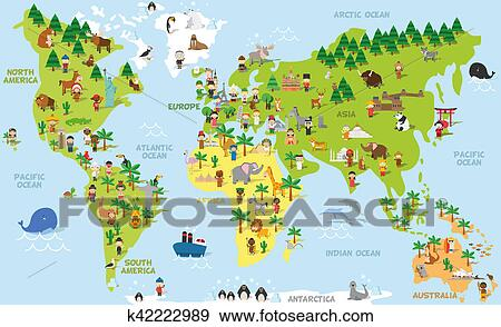 Stock photograph of funny cartoon world map with children of funny cartoon world map with children of different nationalities animals and monuments of all the continents and oceans vector illustration for preschool gumiabroncs Images