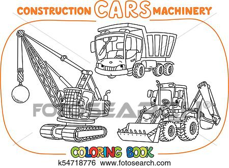 Funny constuction cars set. Coloring book Clip Art ...