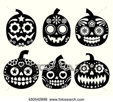 Halloween Pumpkin Vector.Halloween Pumpkin Vector Desgin Mexican Sugar Skull Style Dia De Los Muertos Decoration Clip Art