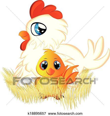 Clipart dessin anim poule et poulet k18895657 - Dessin poule rigolote ...