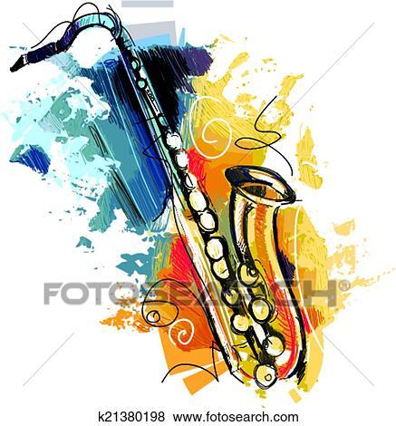 Clipart couleur saxophone croquis k21380198 - Dessin saxophone ...