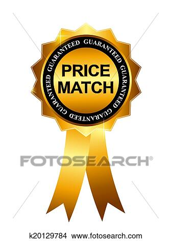 clipart of price match guarantee gold label sign template vector