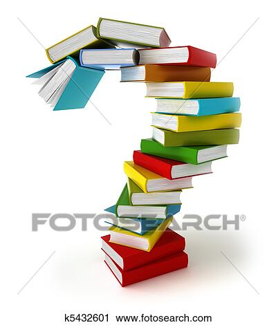 Clipart of Question symbol from colored books k5432601 - Search Clip ...