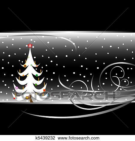 Clipart Schwarz Weiß Weihnachtsbaum Karte K5439232 Suche Clip