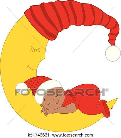 Cute Christmas Clip Art.Vector Cute Christmas African American Baby Sleeping Clipart