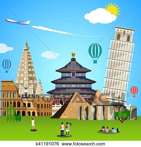World Landmarks Concept Vector Illustration For Travel Design Clip Art K41191076 Fotosearch