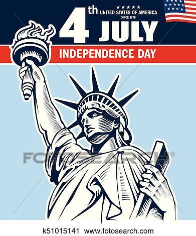 自由の女神 ニューヨークシティ アメリカ 独立記念日 クリップアート