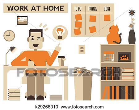 Clipart Arbeit Hause K29266310 Suche Clip Art Illustration