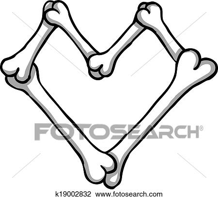 Clipart Of Bone Heart K19002832