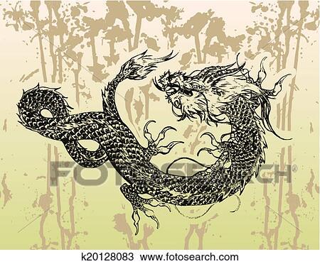 Clipart Dragon Chinois Tatouage A Encre Bg K20128083