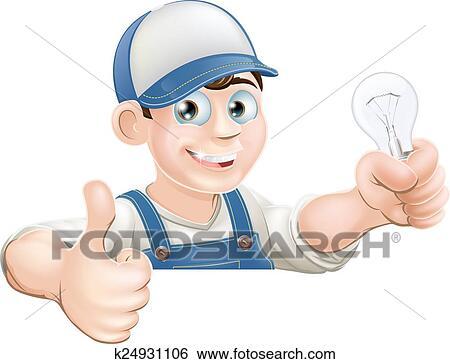 Clip Art - elektriker, geben, daumen hoch k24931106 - Suche Clipart ...