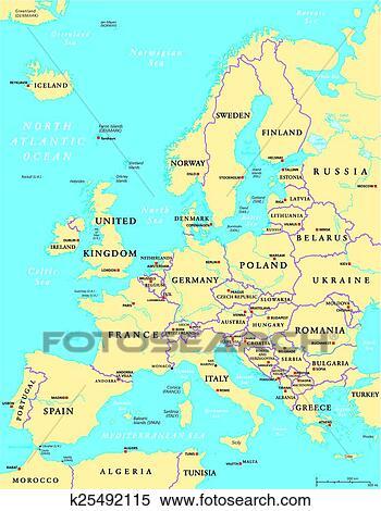Cartina Politica Dell Europa Con Le Capitali.Europa Politico Mappa Clipart K25492115 Fotosearch