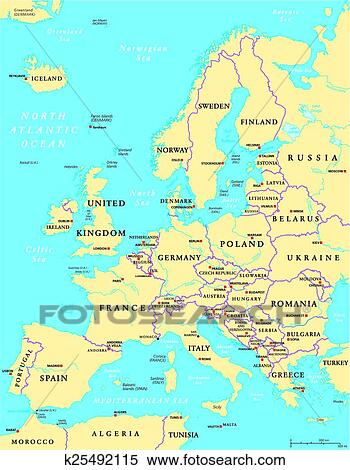 Europe Political Map Clipart K25492115 Fotosearch
