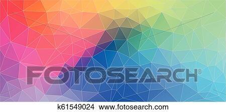 Flat Multicolor Geometric Triangle Wallpaper Clipart