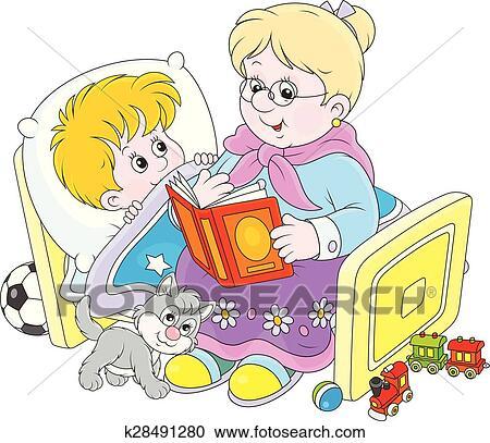 Granny And Grandson Reading Fairyta Clipart K28491280