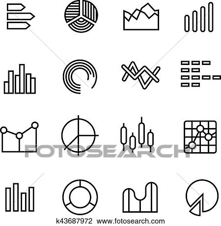 Clipart of graph data chart statistics representation business graph data chart statistics data representation business diagram vector thin line icons data statistic graph and diagram symbol illustration ccuart Images