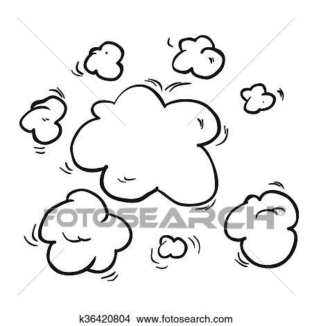 Schwarz Weiß Freehand Gezeichnet Karikatur Dampf