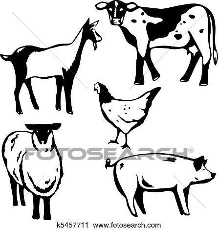 Clipart Bauernhof Tiere K5457711 Suche Clip Art Illustration