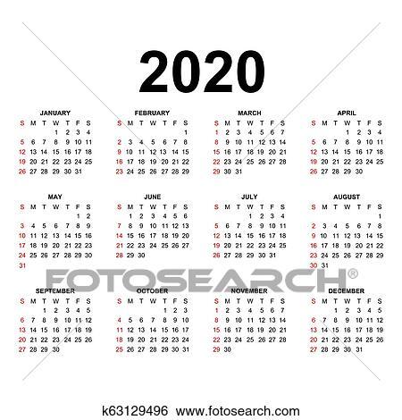 Calendario 2020 Com Feriados.Calendario 2020 Clipart