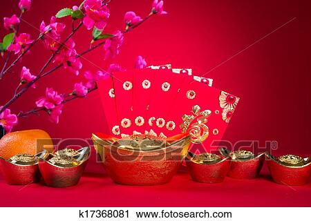 chinese new year decorationsgeneric chinese character symbolizes gong xi fa cai without copyright infringement