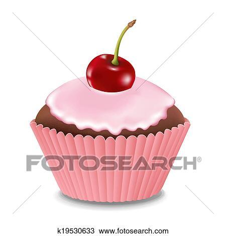 desenho cupcake com creme e cereja k19530633 busca de